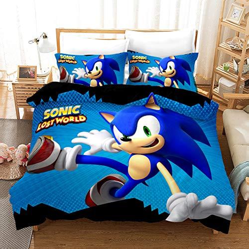 Children Duvet Cover Twin Size 3D Cartoon Sonic The Hedgehog Printed Bedding Set Microfiber Kids Boys Bedding 2 Piece Including 1 Duvet Cover, 1 Pillow Shams (Twin(68'x86'),SNK01)