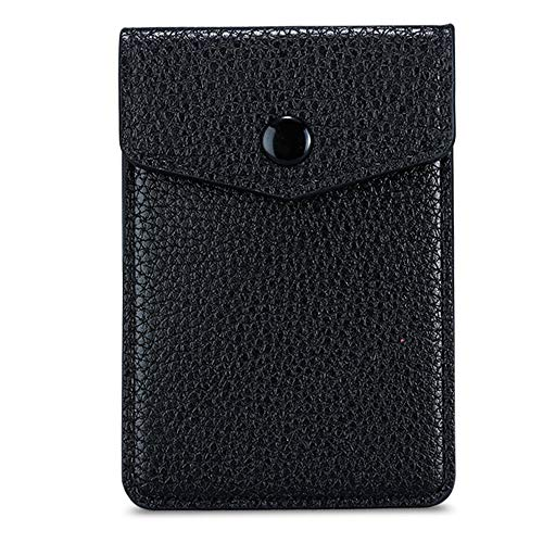 E-Tree Adhesive PU Leather Phone Pocket, Cell Phone Card Sleeve, Stick on Smartphone Card Wallet Pouch, Credit Cards ID Cash Card Holder with Secure Button, 3M Sticker for Back of Phone, Black