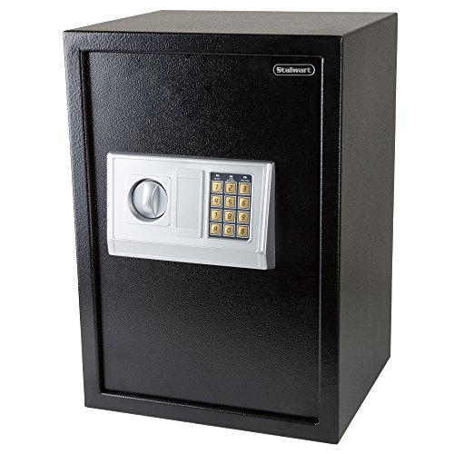 Stalwart Digital Safe-Electronic, Extra-Large, Steel, Keypad, 2 Manual Override Keys-Protect Money, Jewelry, Passports-for Home or Business
