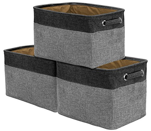 Sorbus Storage Large Basket Set [3-Pack] - 15 L x 11 W x 9 H, Big Rectangular Fabric Collapsible Organizer Bin Box with Carry Handles for Linens, Towels, Toys, Clothes, Kids Room, Nursery (Black/Grey)