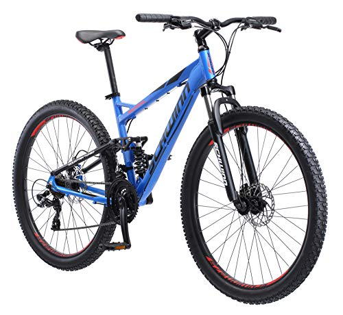 Schwinn Protocol 2.7 Mens and Womens Mountain Bike, 27.5-Inch Wheels, 21-Speed Drivetrain, Lightweight Aluminum Frame, Full Suspension, Matte Blue