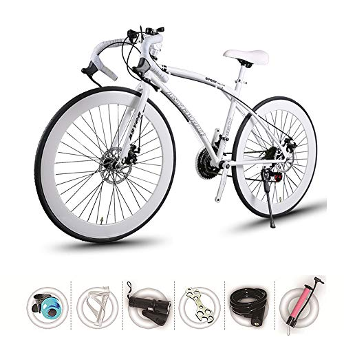 ZHIPENG Fixed Gear Bicycles Mountain Off-Road Bike 26-Inch Adult Variable Speed Bikes, High Carbon Steel Frame, Can Withstand 190KG Weight,White