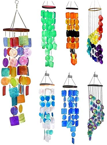 Bellaa 22890 Wind Chimes Outdoor Large Chime Garden Gifts for Mom Memorial Sympathy Windchimes Patio Yard Unique Home Decor Handmade Bamboo Wood Sea Glass Colors Rainbow Capiz Metal S Hook 27 inch