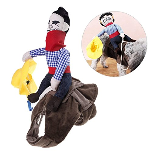 ISMARTEN Pet Costume Dog Costume Clothes Pet Outfit Suit Cowboy Rider Style with Doll and Hat Pet Costume (S)
