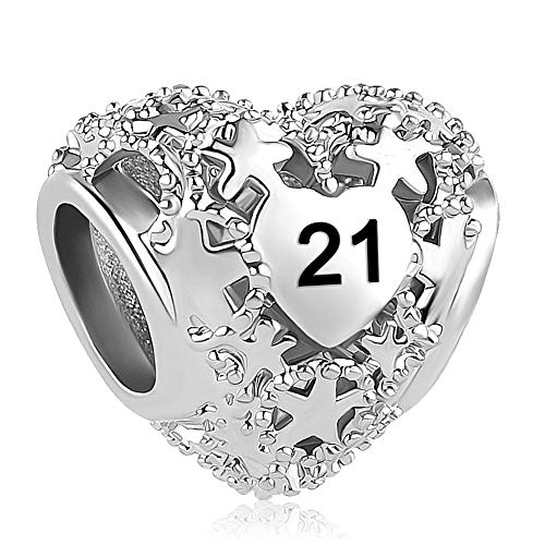Casa De Novia 21 Years of Heart Love Charm Hollow Star Bead fit Pandora Bracelets Necklaces