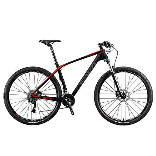 SAVADECK Carbon Fiber Mountain Bike, DECK2.0 MTB 26'/27.5'/29' Complete Hard Tail Mountain Bicycle 27 Speed M2000 Group Set (Black Red, 29' 19')