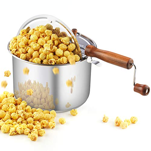 Cook N Home 02627 Stainless Steel Popcorn Popper, 6 quart, Silver