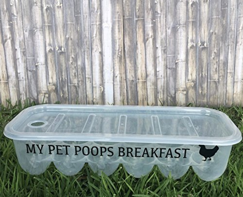 Plastic Egg Storage Containers with Lids and Custom Messages designed to make you smile! Great Gift! (My Pet Poops Breakfast)
