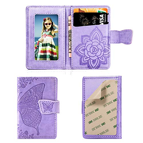 Phone Card Holder RFID Blocking Sleeve,3D Butterfly Flower Kickstand Pu Leather Back Stick-On Adhesive Credit Cards & Cash Phone Wallet For Most of Smartphones iPhone/Android/Samsung-Light Purple