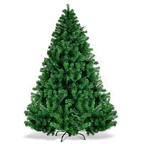 Goplus 6ft Artificial Christmas Tree, Unlit Premium Hinged Spruce Xmas Tree with Solid Metal Stand, for Outdoor and Indoor Decor