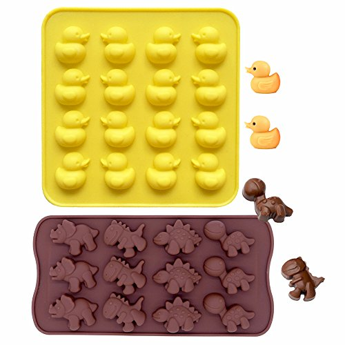 IHUIXINHE Food Grade Silicone Non-Stick Ice Cube Mold, Jelly, Biscuits, Chocolate, Candy, Cupcake Baking Mould, Muffin Pan (Duck & Dinosaur 2PCS)