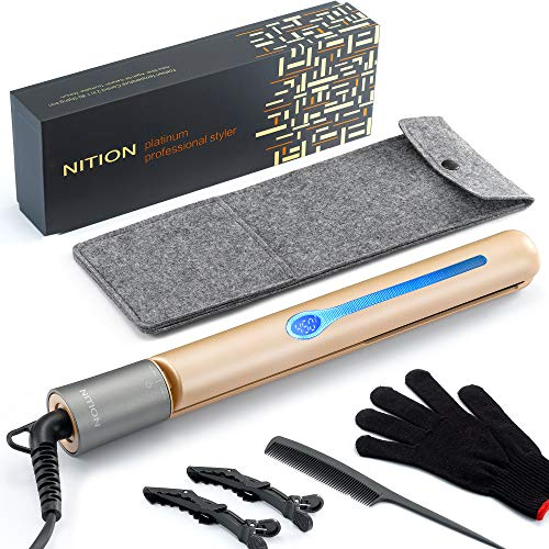 NITION Professional Salon Hair Straightener Argan Oil Tourmaline Ceramic Titanium Straightening Flat Iron for Healthy Styling,LCD 265°F-450°F,2-in-1 Curling Iron for All Hair Type,Gold,1 inch Plate