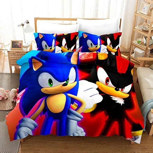 Siyarar Kids Sonic The Hedgehog Bedding Sets for Boys Twin Size 3 Pieces Duvet Cover Bed Set 3D Cartoon Theme Comforter Cover Blue Red Black S1