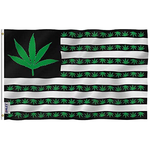 Anley Fly Breeze 3x5 Foot Marijuana Leaf USA Polyester Flag - Vivid Color and Fade Proof - Canvas Header and Double Stitched - US Marijuana Leaves Flags with Brass Grommets 3 X 5 Ft