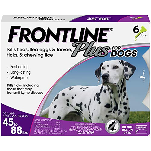 FRONTLINE Plus Flea and Tick Treatment for Dogs (Large Dog, 45-88 Pounds, 6 Doses)