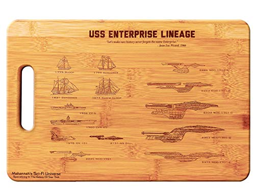 Mahannah's Sci-Fi Universe Star Trek USS Enterprise Legacy- Large Bamboo Cutting Board, Wooden Cutting Boards for Kitchen, Wood Cutting Board, Butcher Block, Chopping Board, Wood Chopping Board