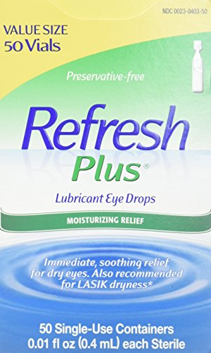Refresh Plus Lubricant Eye Drops, 50 Single-Use Containers, 0.01 Fl Oz (0.4mL) Each Sterile