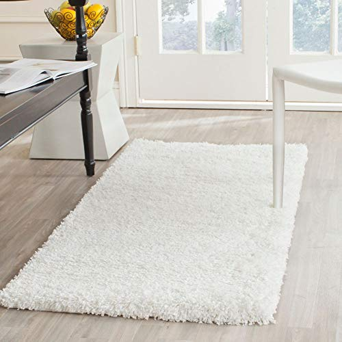Safavieh California Premium Shag Collection SG151-1010 2-inch Thick Area Rug, 2' 3' x 5', White