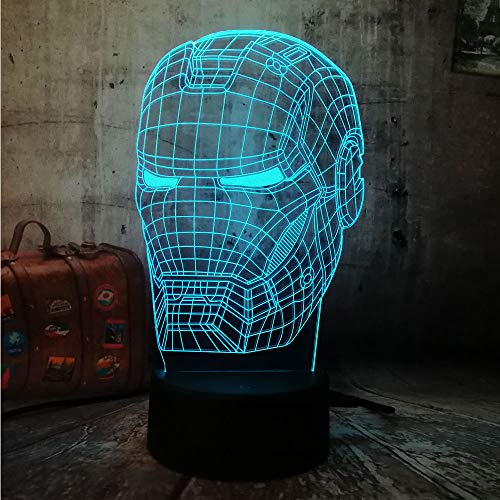 Marvel Action Figures Avengers Iron Man Night Light 3D Optical Illusion Desk Lamp 3D LED RGB 7 Color Change Kids Christmas Gift Solution for Nightmares(Iron Man Head)