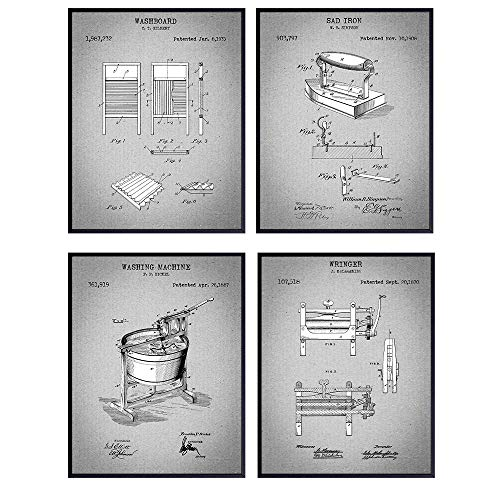 Laundry Room Patent Art Prints - Vintage Retro Wall Art Poster Set - Chic Modern Home Decor - Great Gift for Women and Housewarming - 8x10 Photo - Unframed - Grey