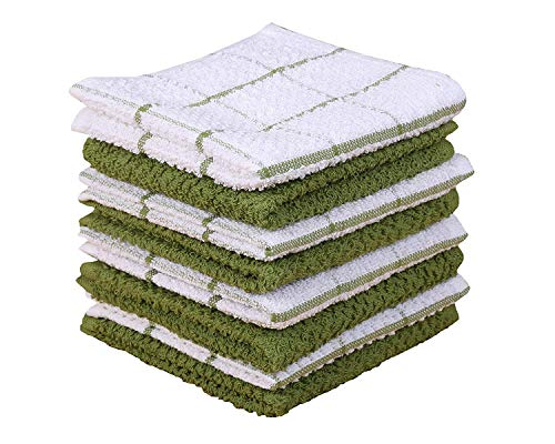 Amour Infini Terry Dish Cloth | Set of 8 | 12 x 12 Inches | Super Soft and Absorbent |100% Cotton Dish Rags | Perfect for Household and Commercial Uses | Green