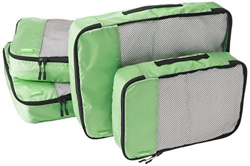 AmazonBasics 4 Piece Packing Travel Organizer Cubes Set - 2 Medium and 2 Large, Green