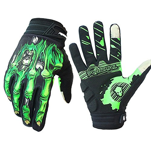 Rigwari Skeleton Cycling Gloves Motorcycles Gloves Off-Road Vehicle MTB, Bicycle Gloves Shock Absorption Non-Slip Touch Screen Design,for Various Outdoor Sports.(Green1, M)