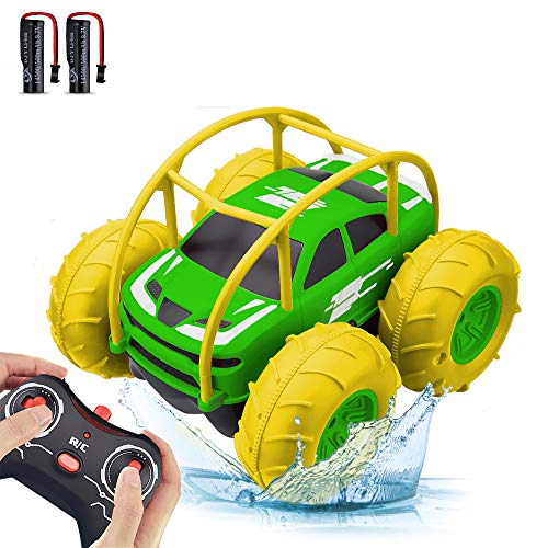 Remote Control Car, RC Cars Amphibious Land & Water Toy Off-Road RC Boat, 360°Flip Rotation Stunt Car with Sidelights for Toddlers 3 4 5 6 7 8 9 10 11 12 Years Kids Boys Girls