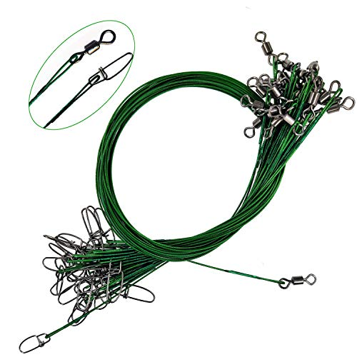 Steel Leader Fishing Saltwater 100 Lbs Heavy Duty Fishing Wire Leader Line with Swivles Snap (Green-30 PCS)