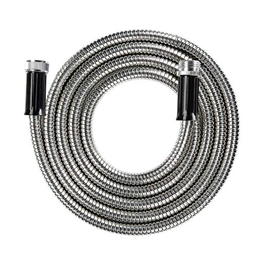 "BEAULIFE Short Metal Stainless Steel Garden Hose 15 Feet Drinking Rv Water Hose Dehumidifier Drain Hose Connector Extension Attachments 3/4"" Hose Bib Faucet Reel Extender for Outdoor"