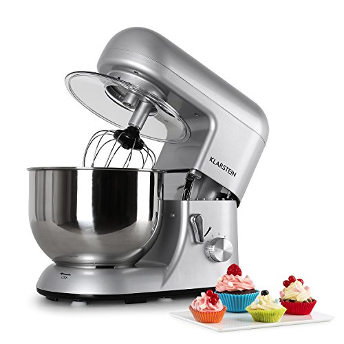 KLARSTEIN Bella Argentea Tilt-Head Stand Mixer - Food Processor, Dough Hook, Flat Beater, Wire Whip, 650 W, 5.5 qt Stainless Steel Bowl, 6 Speed, Planetary Mixing, Easy to Operate and Clean, Silver