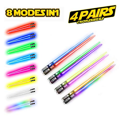 Lightsaber Chopsticks Light Up - LED Glowing Light Saber Chop Sticks - Reusable Sushi Lightup Sabers Chopstick Set Of 4 Pairs - 8 Changing Color Modes