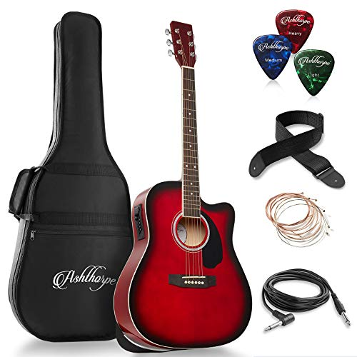 Ashthorpe Full-Size Dreadnought Cutaway Acoustic-Electric Guitar Bundle - Premium Tonewoods - Red