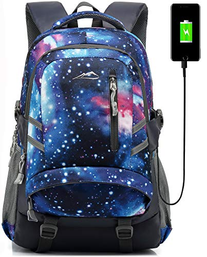 Backpack Bookbag for School College Student Sturdy Travel Business Laptop Compartment with USB Charging Port Luggage Chest Straps Night Light Reflective (Galaxy)