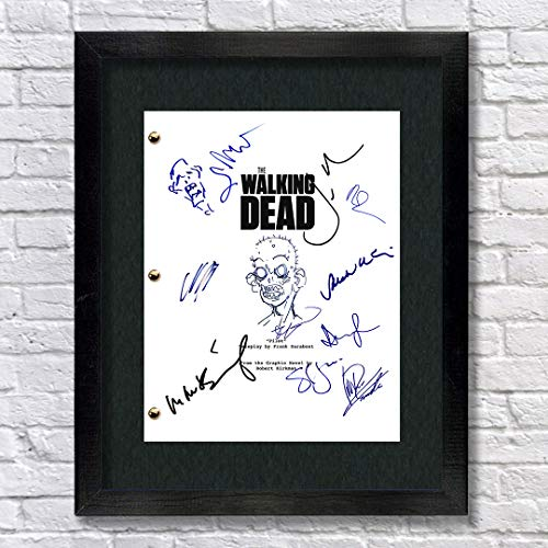 The Walking Dead Autographed Signed Reprint 8.5x11 Script 13x15 Framed Andrew Lincoln, Norman Reedus, Jon Bernthal, Chandler Riggs, Wayne Callies