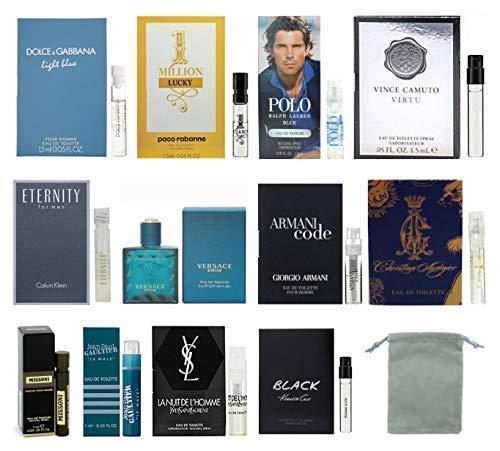 12 Cologne Designer Samples Vial Set for Men with Velvet bag