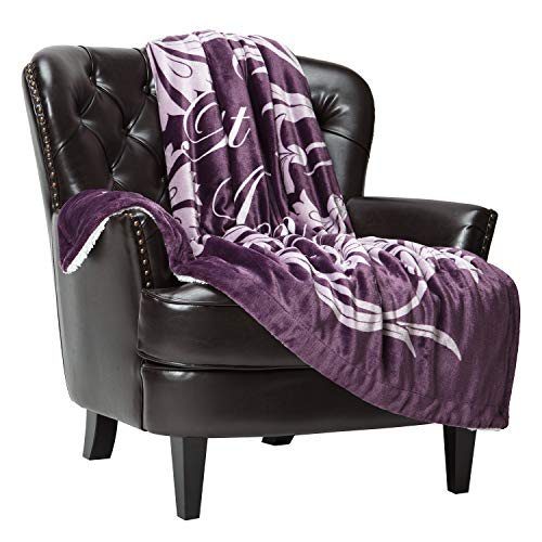 Chanasya Best Mom Ever Gift Throw Blanket - Sherpa Microfiber Birthday Christmas Holiday Valentine's Day Mother's Day Present Gift Throw - for Women Mother Wife (50x65 Inches) - Aubergine Blanket