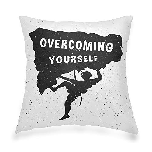 KULUSSY Decorative Throw Pillow Cover Geometric Invisible Zipper 16x16 Inch Silhouette Climber Concept Climb Rock Mountain Icon Man Sport Active Activity Adventure Zipper Pillow Cover for Living Room