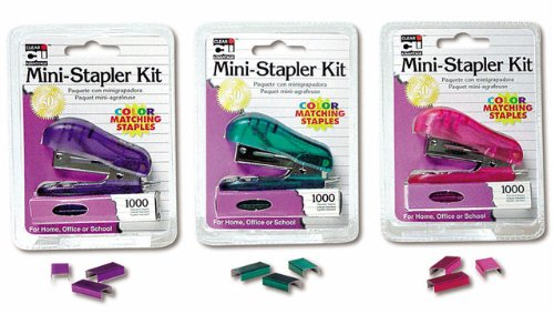 Charles Leonard Mini Stapler Kit with 1000 Color Staples, Assorted Transparent Colors (Pink, Purple or Teal), 6-Kits (82000)