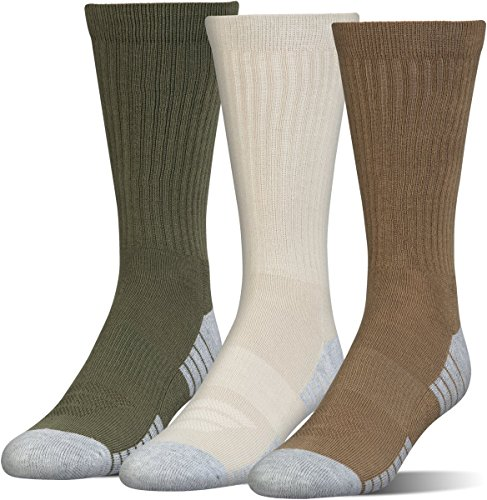 Under Armour Adult Heatgear Tech Crew Socks, 3-Pairs, Coyote Brown Assortment, Shoe Size: Mens 8-12, Womens 9-12