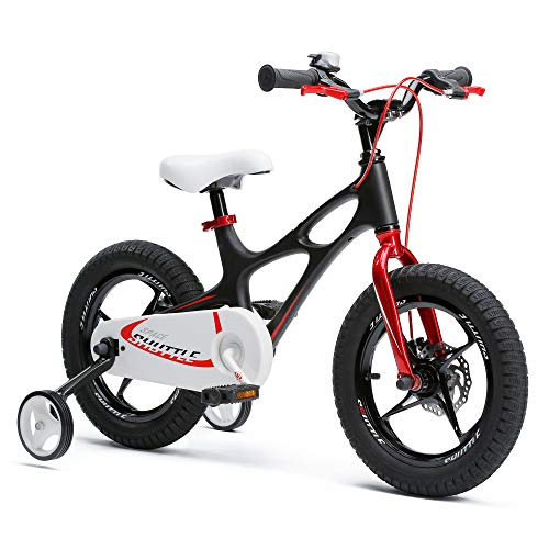 RoyalBaby Boys Girls Kids Bike 16 Inch Space Shuttle Magnesium Bicycles with Training Wheels Kickstand Child Bicycle Black