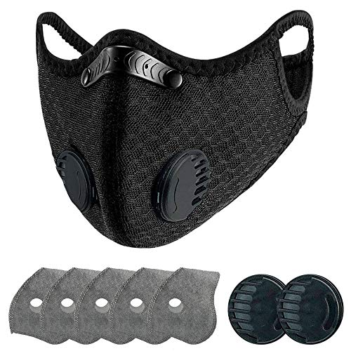 Reusable, Washable Nylon Dust Face Mask with 5 Pcs Filters,2 Spare Breathing Valve(Medium Size)