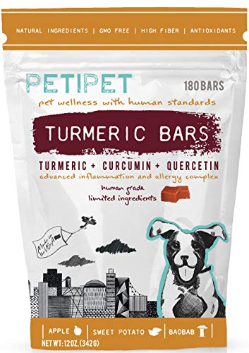 PETIPET Itching Allergy Inflammation Relief Supplement for Dogs - Organic Turmeric, Curcumin, Quercetin Herbal Soft Chews for Seasonal Allergies, Anti Itch, Skin Hot Spots, Immune & Digestive Health