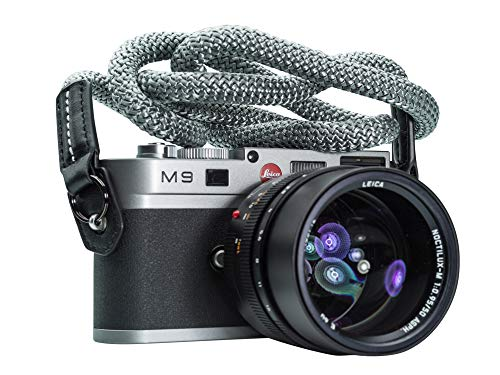 Vi Vante Luxury Arctic Fox Sheetline Rope Camera Strap with Napa Leather Ends and electroplated mounting Rings V3