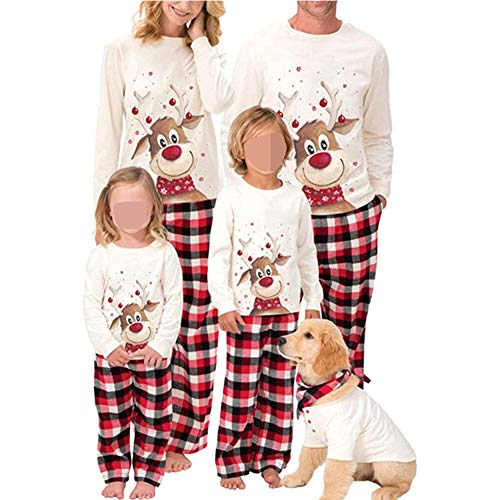 Family Christmas Pjs Matching Sets Deer Plaid Jammies for Baby Adults and Kids Holiday Xmas Sleepwear Set (Baby, 6-12M)