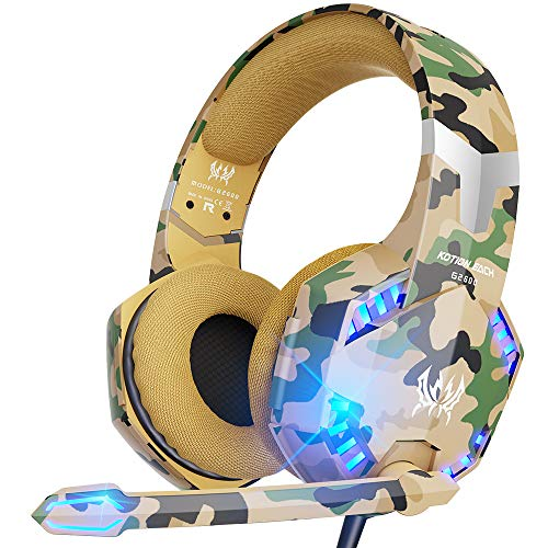 VersionTECH. Stereo Gaming Headset for PS5, PS4 Xbox One Controller, Noise Reduction Over Ear Headphones with Mic, Bass Surround & LED Lights for Laptop PC Mac Computer Nintendo Switch Xbox Series X/S