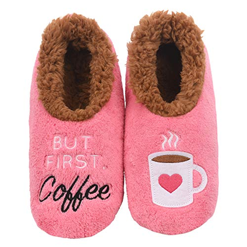 Snoozies Pairables Womens Slippers - House Slippers - But First Coffee - Small