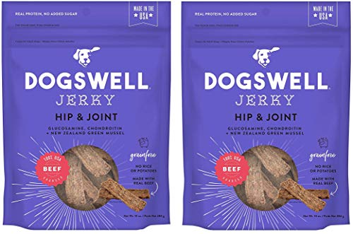 DOGSWELL Hip and Joint Beef Jerky Dog Grain Free Treats 10oz Made in USA (2 Bags)