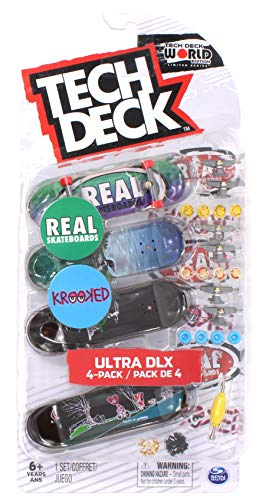 Mini Fingerboards Krooked and Real Skateboards 2019 Ultra DLX Deck 4 Pack World Edition Limited Series