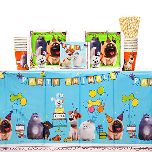 The Secret Life Of Pets 2Birthday Party Supplies Pack for 16 Guests | 24 Paper Straws, Paper Cups, Paper Dessert Plates, Paper Beverage Napkins, and Plastic Table Cover | Kid's Birthday Party Supplies
